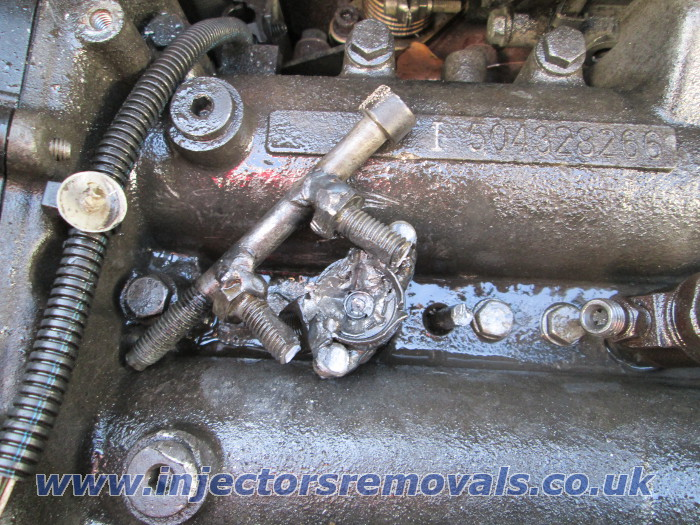 Snappped and welded injector removed from