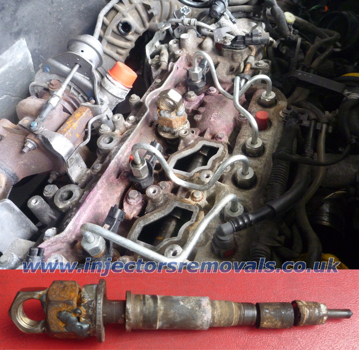 Snapped and welded injector removed from Renault
